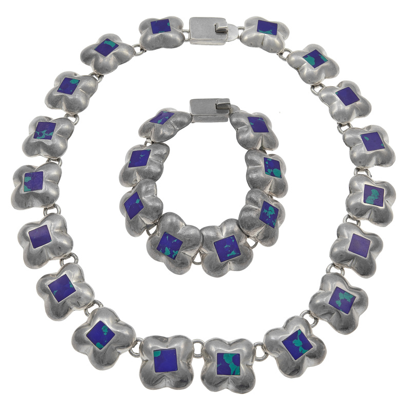 Mexican Azurite Malachite Sterling Silver Jewelry Set