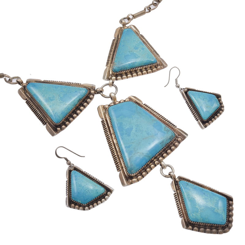 Running Bear Turquoise, Sterling Silver Jewelry Set
