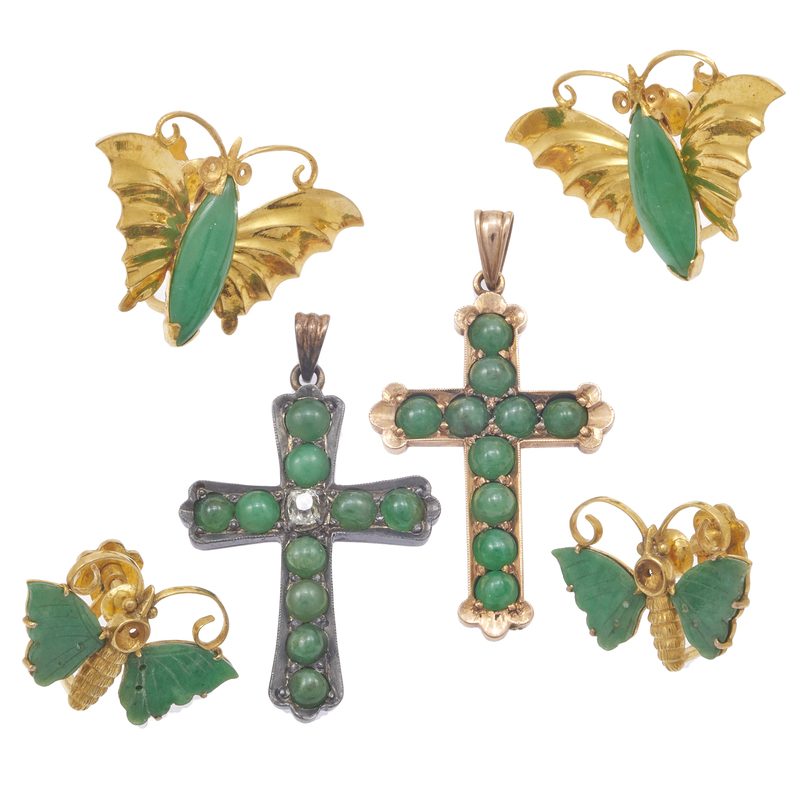 Collection of Jade, Diamond, Yellow Gold, Silver Jewelry