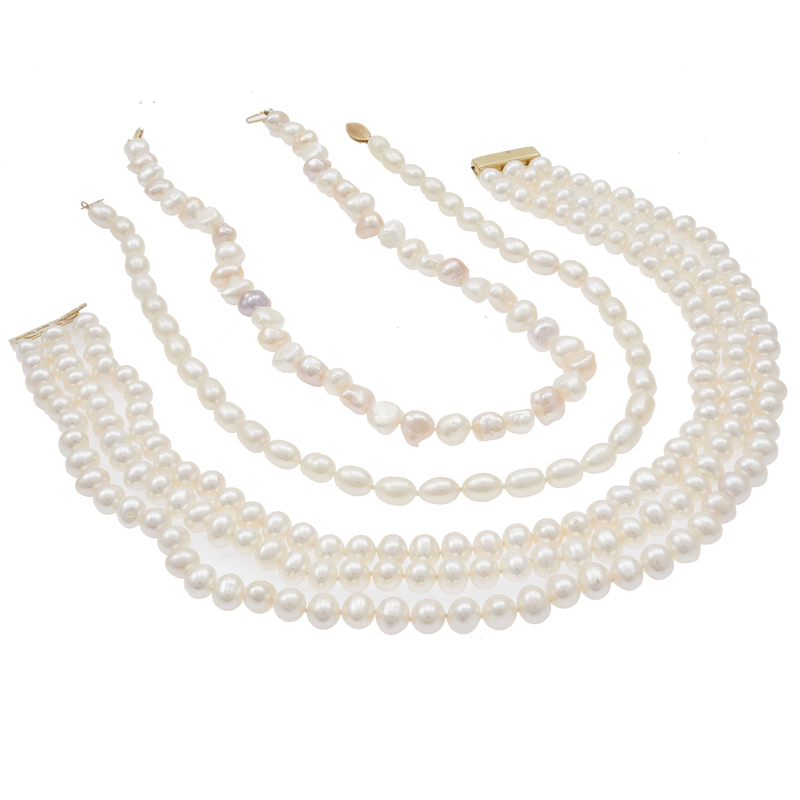 Group of Three Fresh Water Pearl, 14k Necklaces