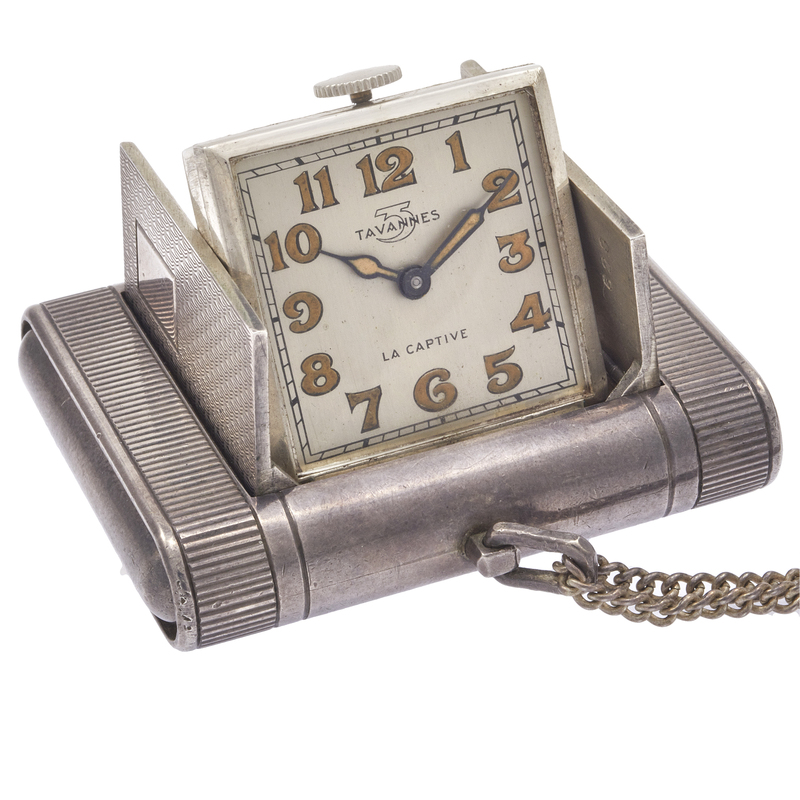 Tavannes La Captive Sterling Travel Clock on Chain