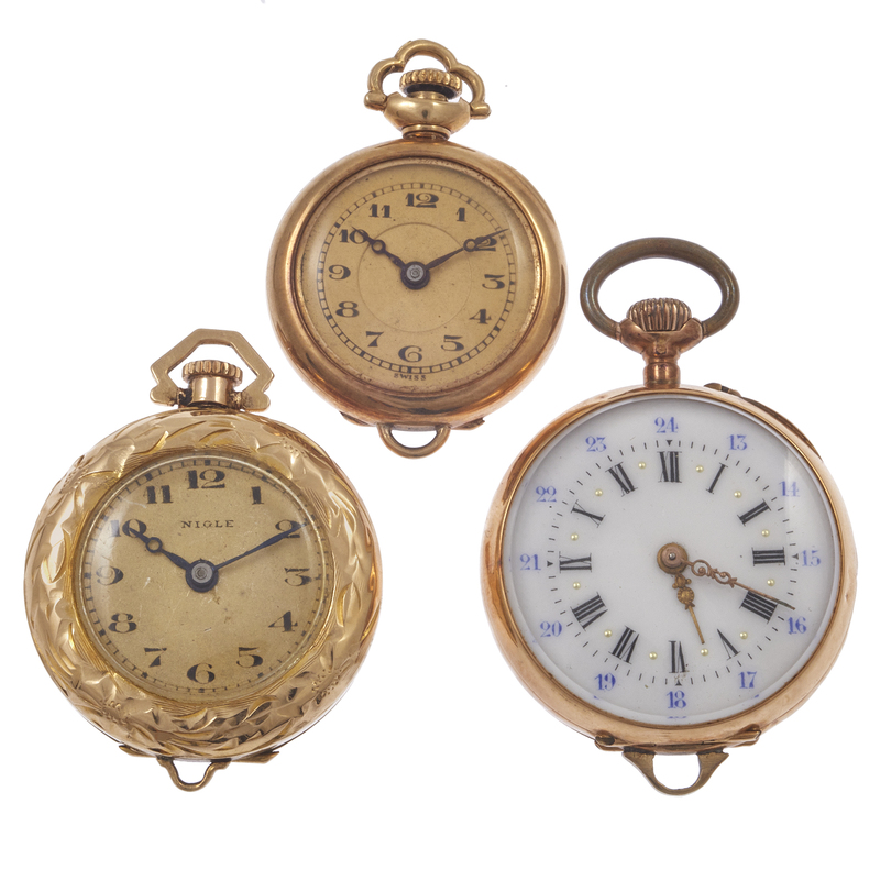 Collection of Three Ladies 18k, 14k Lapel Watches