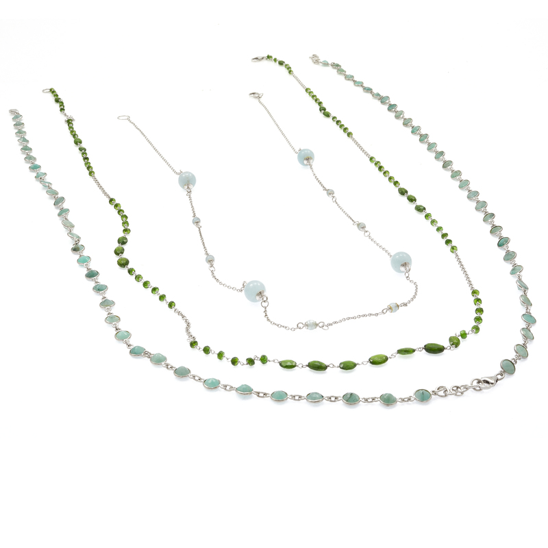 Collection of Emerald, Aquamarine, Chrome Diopside Necklaces