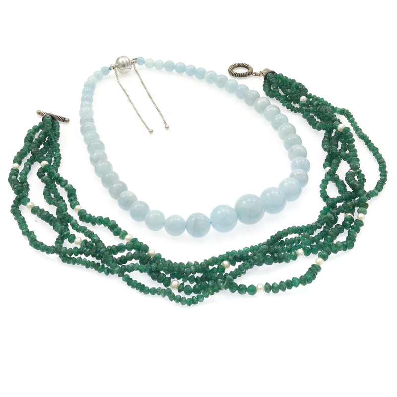 Collection of Two Emerald, Aquamarine, Fresh Water Pearl Necklaces