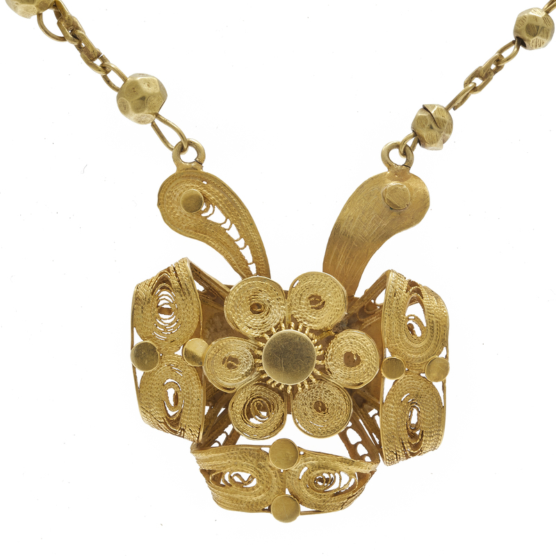 14K Yellow Gold Cannetille Necklace
