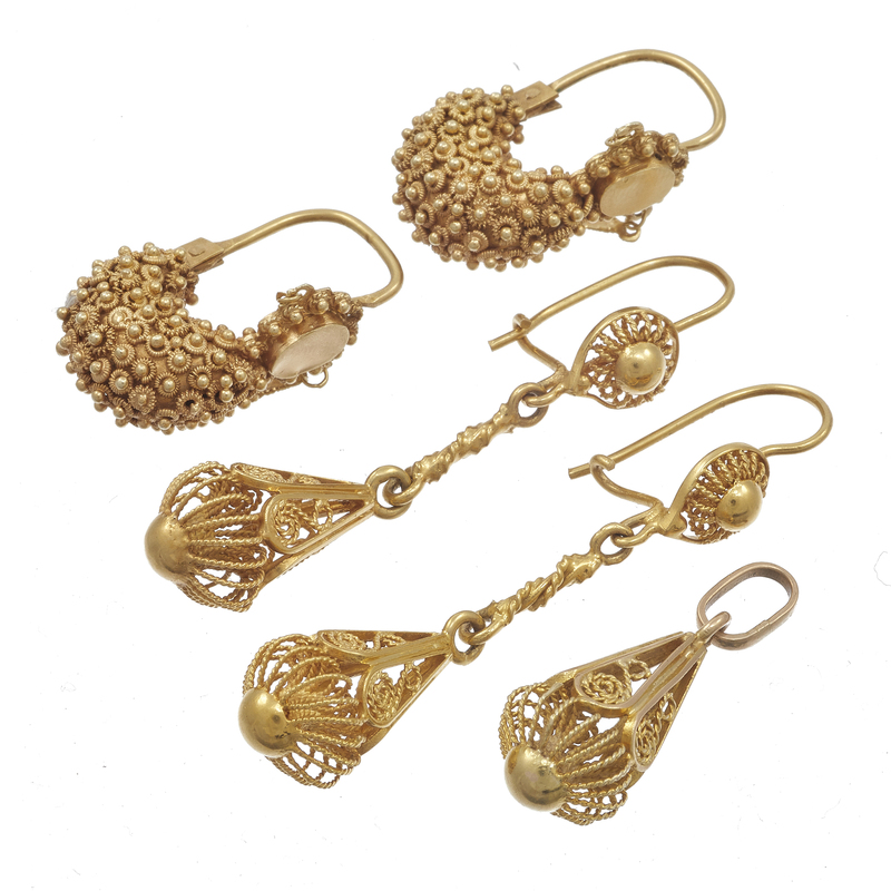 Collection of 14k Yellow Gold Cannetille Jewelry