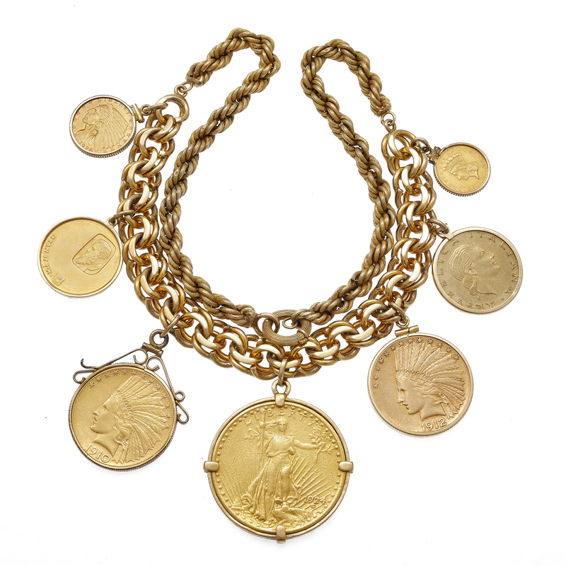 American and International Coins, 14k Yellow Gold Necklace