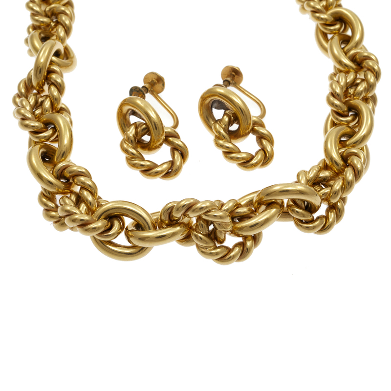 18k Yellow Gold Necklace and Ear Clip Set