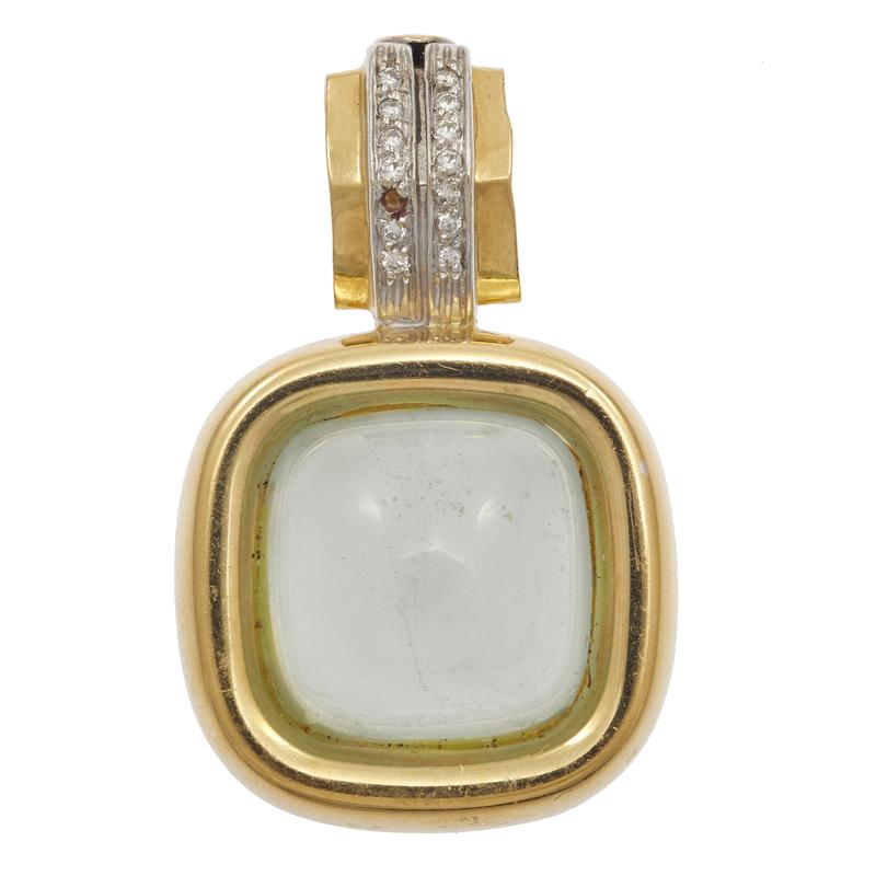 Fope Aquamarine, Diamond, 18k Enhancer Pendant