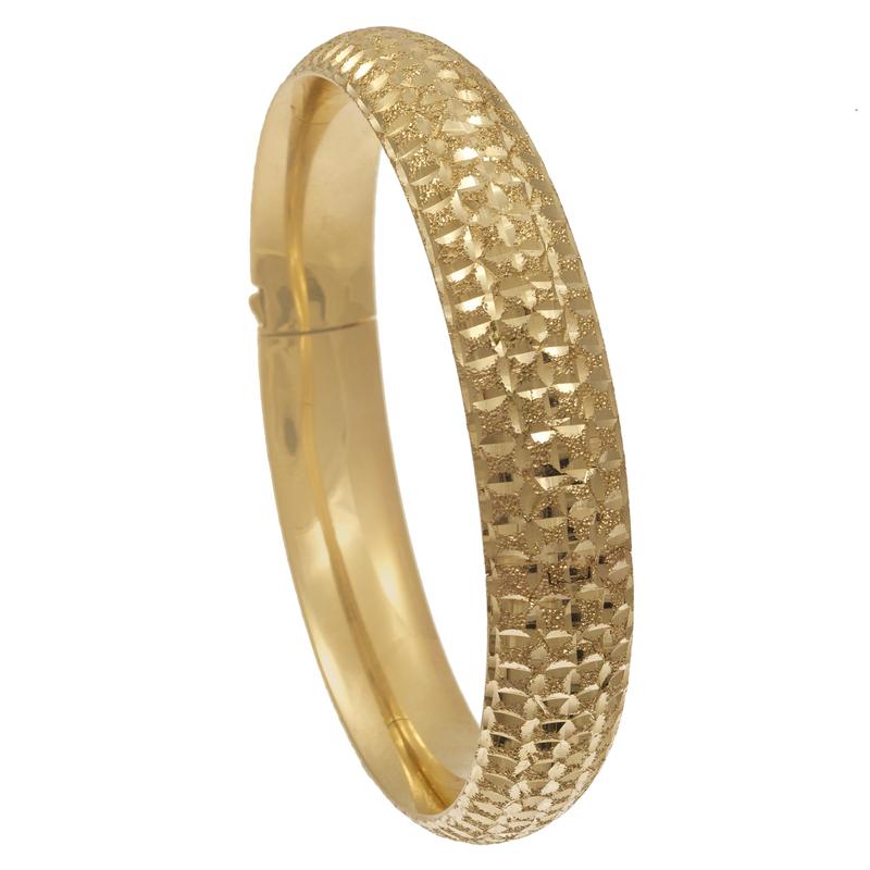 14k Yellow Gold Bright Cut Bangle Bracelet
