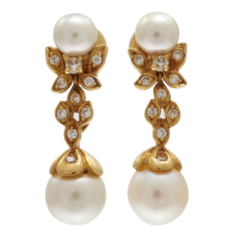 Pair of Diamond, Cultured Pearl, 18k Yellow Gold Earrings