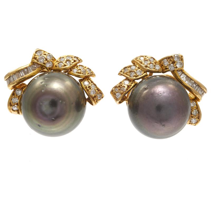 Pair of Tahitian Pearl, Diamond, 14k yellow Gold Earrings