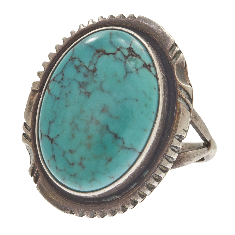 W. Johnson Navajo Turquoise, Sterling Silver Ring