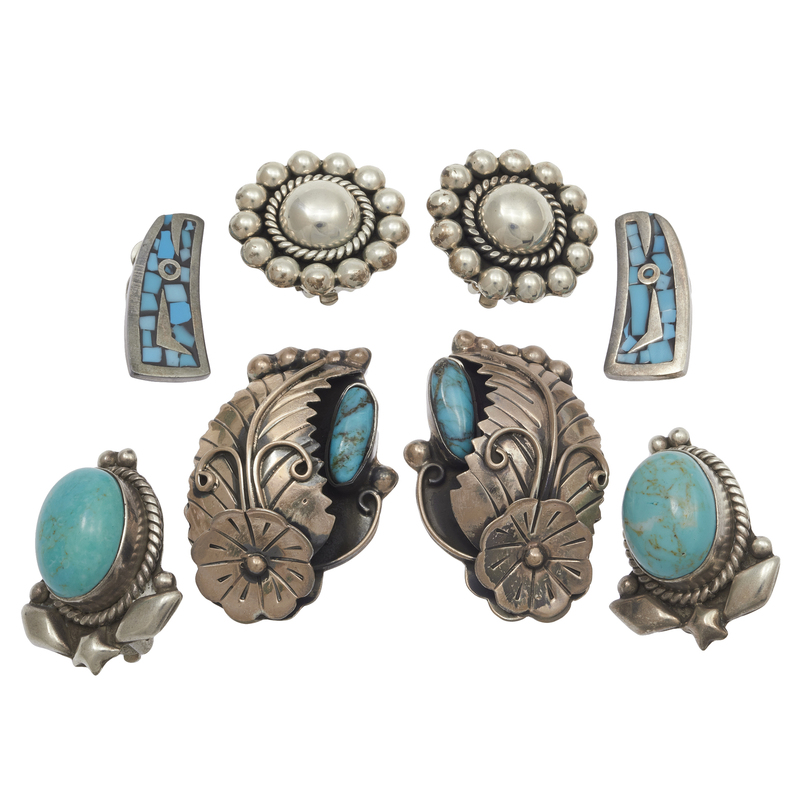 Collection of Four Pairs of Mexican Sterling Silver Ear Clips