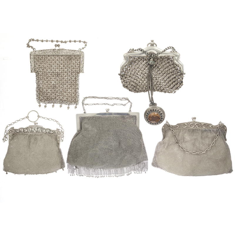 Renaissance Revival Silvered Mesh Handbags
