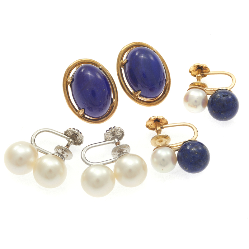 Collection of Lapis Lazuli, Cultured Pearl Earrings