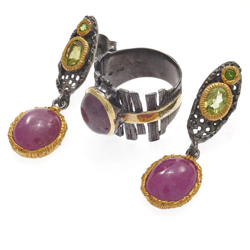 Ruby, Peridot, Blackened Silver Jewelry Suite