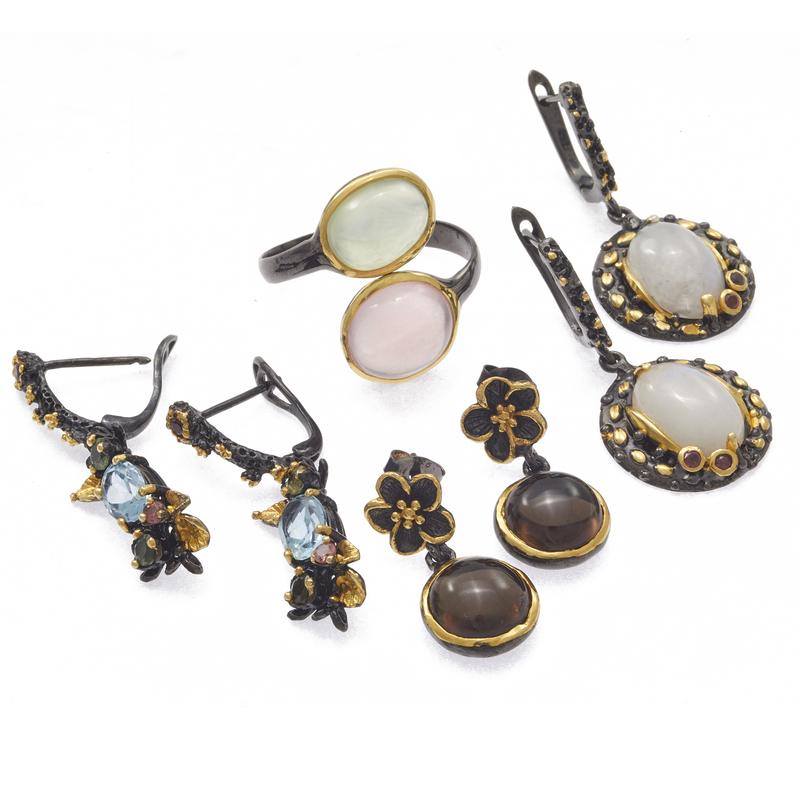 Group of Moonstone, Quartz, Topaz, Silver Jewelry Items