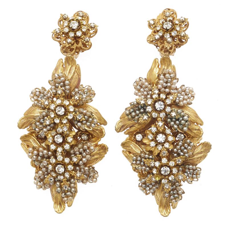 Pair of Stanley Hagler Faux Pearl, Rhinestone Earrings