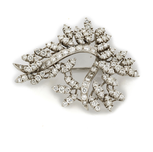 Diamond, 14k White Gold Spray Brooch