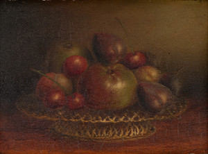 Frederick Lee Bridell (British, 1830-1863) Still Life with a Basket of Fruit