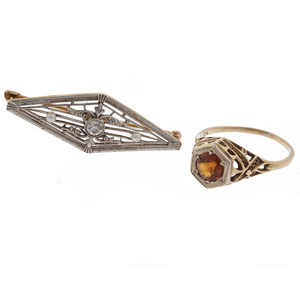 Collection of Diamond, Citrine,Gold Filigree Jewelry Items