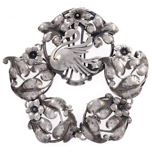 Art Nouveau Style Sterling Silver Swan Bracelet