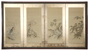 A Japanese Four-Panel Floor Screen, Meiji Period