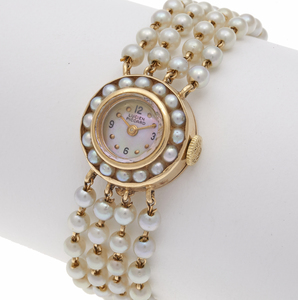 Lucien Picard Cultured Pearl, 14k Bracelet Watch