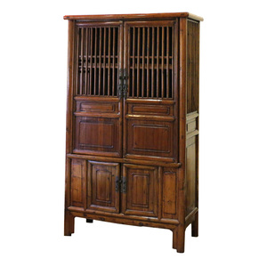 Chinese Elm Wood Kitchen Cabinet