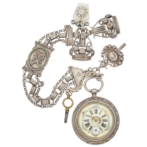 Silver Pocket Watch with Chain, Fobs and Keys