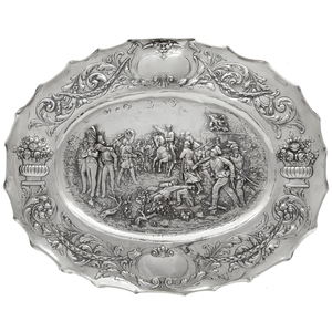 German, Hanu .800 Silver Figural Tray