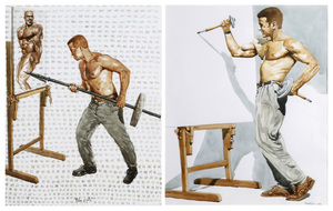 Two Muscular Male Watercolors