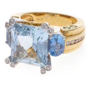 Aquamarine, Diamond, Topaz, Tsavorite Garnet, 18k Ring