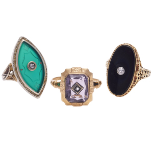 Collection of Three Art Deco Colored Stone, Diamond Rings