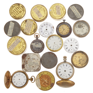 Collection of Pocket Watch Movements and Parts