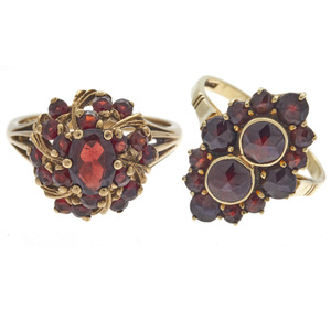 Collection of Two Bohemian Garnet, Gold Rings