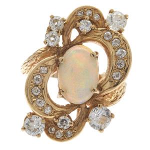 Opal, Diamond, 14k Yellow Gold Ring