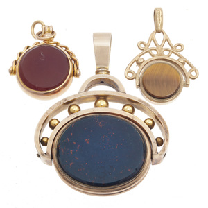 Collection of Three Victorian Hardstone, Gold Watch Fobs