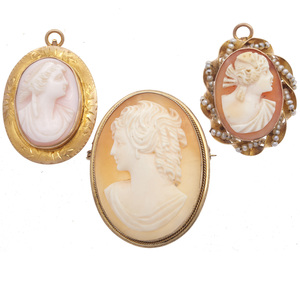 Collection of Three Shell Cameo, 10k Gold Pin Pendants