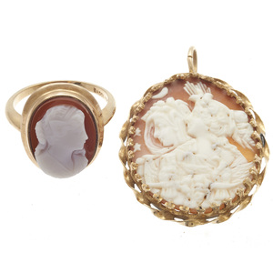 Collection of a Hardstone Cameo Ring and Shell Cameo Pendant