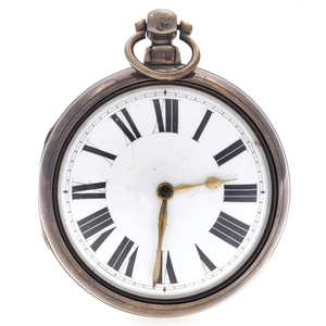 English Sterling Silver Paired Case Pocket Watch