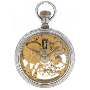 Elgin Nickel Silver Skeleton Pocket Watch