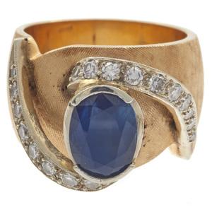 Sapphire, Diamond, 14k Yellow Gold Ring