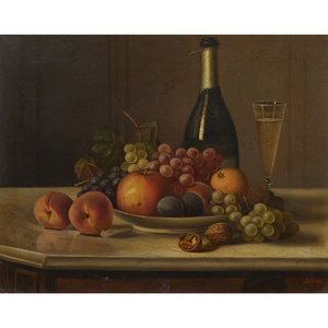Margarete Gillin  (American, 1833 - 1915) Still life with Fruit and Champagne