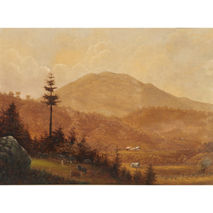 American School (20th Century) Mount Diablo with Ranches and Cattle
