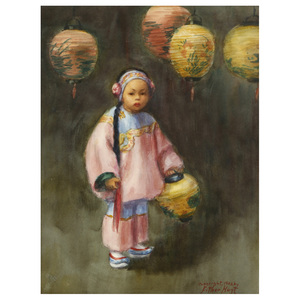 Esther Anna Hunt  (American, 1875 - 1951)  Young Girl with Lanterns