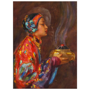 Esther Anna Hunt  (American 1875 - 1951) Young Girl with Incense Burner