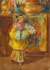 Esther Anna Hunt  (American 1875 - 1951) Young Girl with Flowers