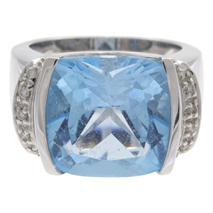 Blue Topaz, Diamond, 14k Ring